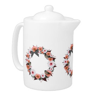 "Wreath ""Gray Bow"" Flowers Floral Teapot"
