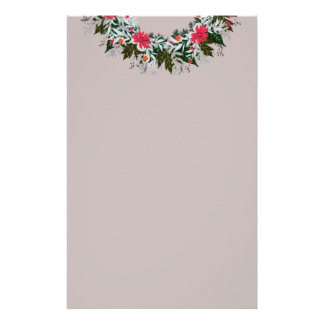"Wreath ""Gray Red"" Flowers Floral Stationery"