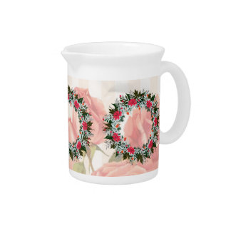 "Wreath ""Gray Red"" Flowers Porcelain Pitcher"
