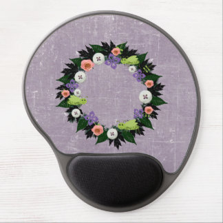 """Wreath """"Green Grasshopper"""" Pink Flowers Mouse Pad Gel Mouse Pad"""