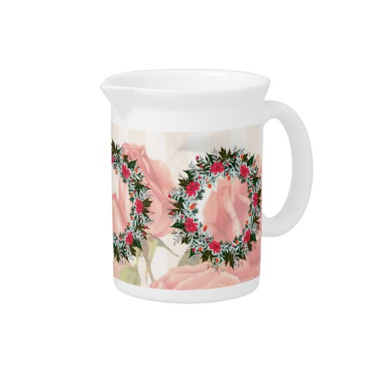 "Wreath ""Grey Red"" Flowers Porcelain Pitcher"