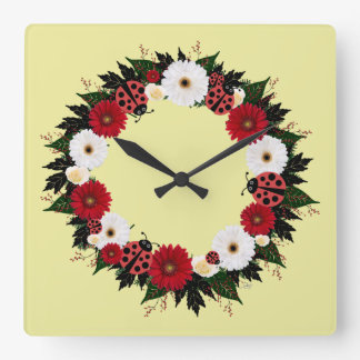 """Wreath """"Lady Bug"""" Red/White Flowers Clock"""