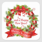 Wreath: Merry Christmas and a Happy New Year!, Square Sticker