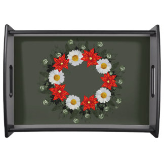 "Wreath ""Merry Wedding"" Flowers Floral Serving Tray"
