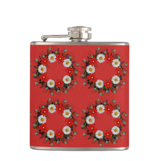 "Wreath ""Merry Wedding"" Flowers Floral Vector Flask"