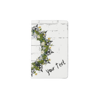 """Wreath """"Mini White"""" Flowers Floral Pocket Notebook"""