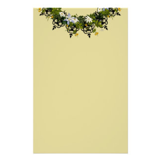 """Wreath """"Mini White"""" Flowers Floral Stationery"""