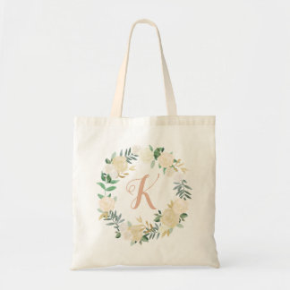 Wreath Monogram | Neutral Watercolor Blooms Tote Bag