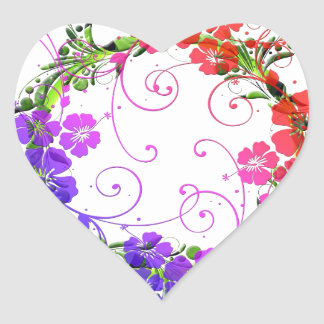 Wreath of Flowers Heart Sticker