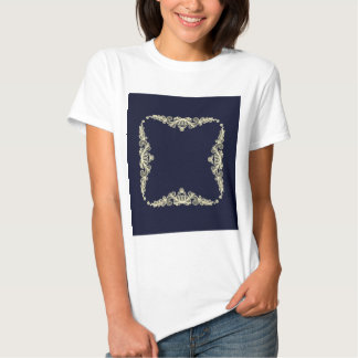 Wreath of Gold Flowers on Navy Blue Tees