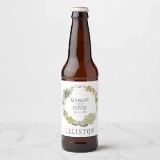 Wreath of Succulents, Twigs and Stones | Wedding Beer Bottle Label