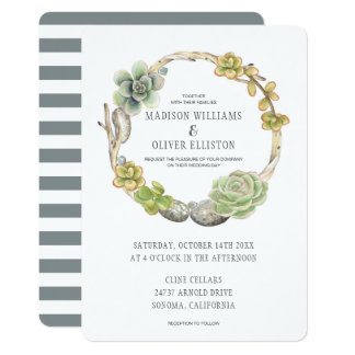 Wreath of Succulents, Twigs and Stones | Wedding Card
