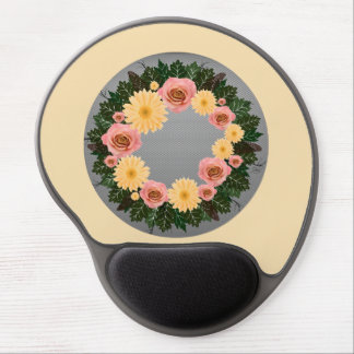 """Wreath """"Old Fashion"""" Peach/Pink Flowers Mouse Pad Gel Mouse Pad"""