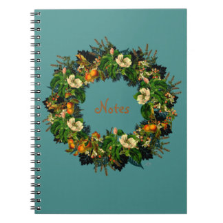 "Wreath ""Old Gold"" Flowers Floral Notebook"