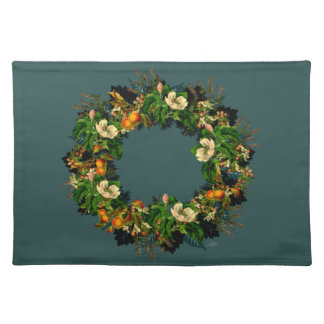 """Wreath """"Old Gold"""" Flowers Floral Placemat"""