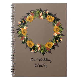 "Wreath ""Ole Orange"" Flowers Floral Notebook"