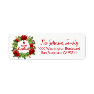 Wreath Ornaments Holiday Christmas Return Address Return Address Label
