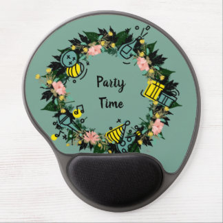 """Wreath """"Party Time"""" Flowers Floral Mousepad"""
