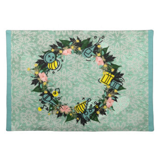 """Wreath """"Party Time"""" Flowers Floral Placemat"""