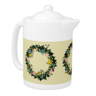 """Wreath """"Party Time"""" Flowers Floral Teapot"""