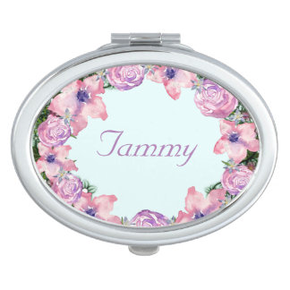 Wreath Peppermint Flowers Floral Vector Tammy Pink Vanity Mirror