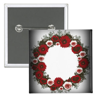"Wreath ""Pine Cone"" Posterized Flowers Button"