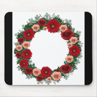 "Wreath ""Pine Cone"" Red/Pink Flowers Mouse Pad"