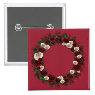 "Wreath ""Pine Roses"" Burgundy Flowers Button"