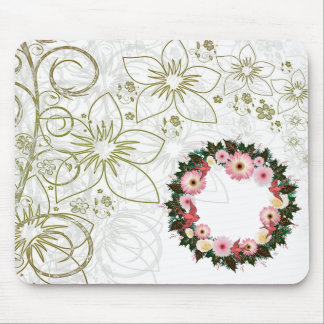 """Wreath """"Pink Bird"""" Pink/White Flowers Mouse Pad"""