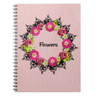 "Wreath ""Pink Grape"" Flowers Floral Notebook"