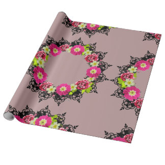 """Wreath """"Pink Grape"""" Flowers Leaves Wrapping Paper"""