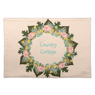 """Wreath """"Pink Love"""" Flowers Floral Placemat"""