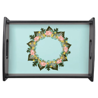 "Wreath ""Pink Love"" Flowers Floral Serving Tray"