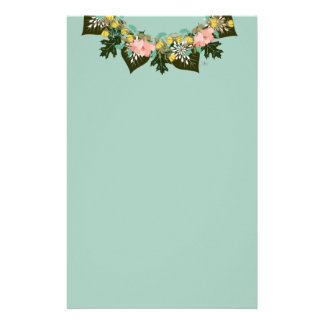 """Wreath """"Pink Love"""" Flowers Floral Stationery"""