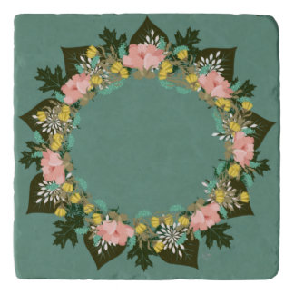 "Wreath ""Pink Love"" Flowers Floral Trivet"