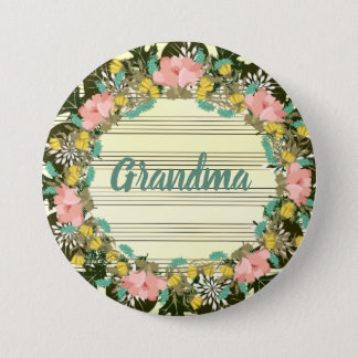 """Wreath """"Pink Love"""" Flowers Floral Vector Button"""