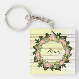 "Wreath ""Pink Love"" Flowers Floral Vector Keychain"