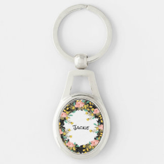 """Wreath """"Pink Yellow"""" Flower Floral Vector Keychain"""