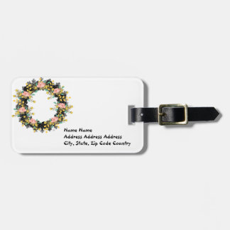 """Wreath """"Pink Yellow"""" Flowers Floral Luggage Tag"""
