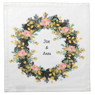 """Wreath """"Pink Yellow"""" Flowers Floral Napkins"""