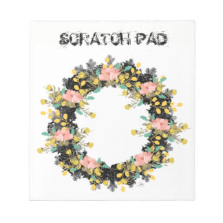"Wreath ""Pink Yellow"" Flowers Floral Notepad"