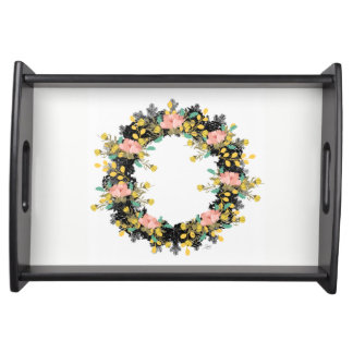 "Wreath ""Pink Yellow"" Flowers Floral Serving Tray"