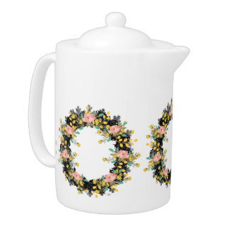 "Wreath ""Pink Yellow"" Flowers Floral Teapot"