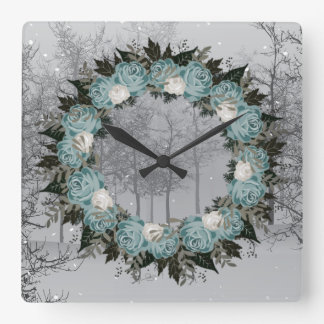 "Wreath ""Pretty Blue"" Flowers Floral Vector Clock"