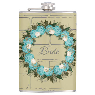 "Wreath ""Pretty Blue"" Flowers Floral Vector Flask"