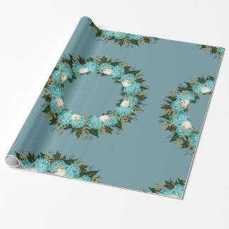 "Wreath ""Pretty Blue"" Flowers Leaves Wrapping Paper"
