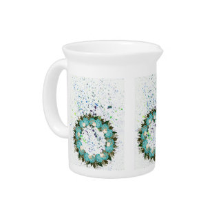 "Wreath ""Pretty Blue"" Flowers Porcelain Pitcher"