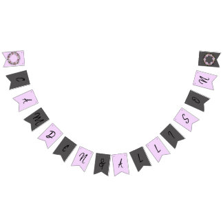 Wreath Purple Wedding Flowers Floral Bunting Flags