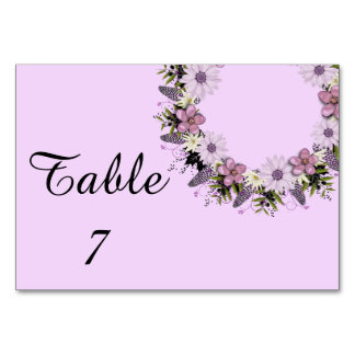Wreath Purple Wedding Flowers Floral Table Cards