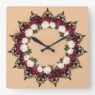 "Wreath ""Red Leaf"" Flowers Floral Clock"